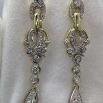 Золотые серьги с бриллиантами 1.2 карата, в Саках