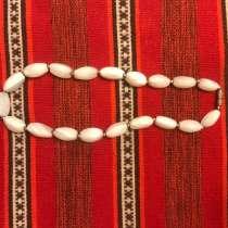 Бусы из натурального камня, белый агат, Индия. Винтаж, в Москве