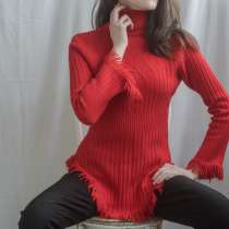 Свитер женский красный, размер 40-42, шерсть 80%, нейлон 20%, в Красноярске