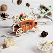 Елочные игрушки и сувениры из дерева, ручной работы, в Москве