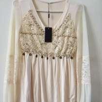 Блузка нарядная бежевая с длинным рукавом на резинке, новая, в г.Брест