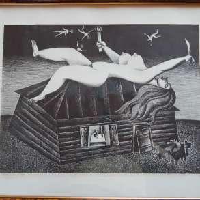 Автолитография, «Ночь» 39x51,5, 1976 г. Кулинич Анатолий, в Москве