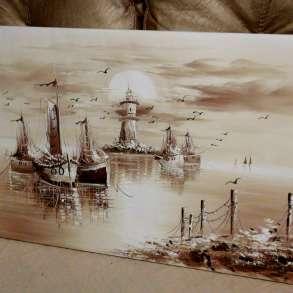 Лодки и Маяк, 60х120см, Картина маслом на холсте, в Москве