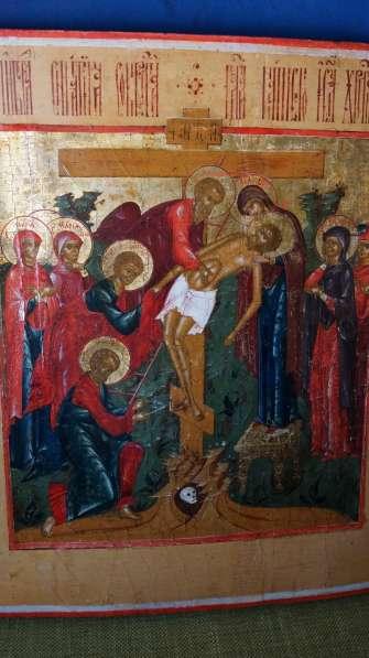 Старинный храмовый образ «Снятие с креста». Россия, XIX век в Санкт-Петербурге фото 18