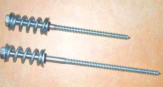 Пружинный узел (сила пружины -150кгс) компенсатор усадки - болт пружинный (10 х 200мм оцинкованный,10 х 280мм оцинкованный)