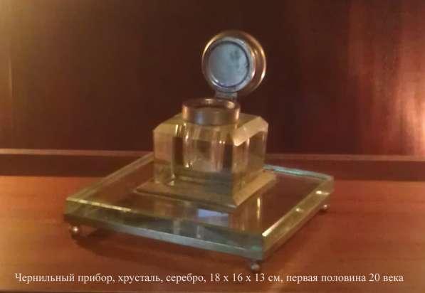 Чернильный прибор настольный, хрусталь, серебро, 18х16х13 см