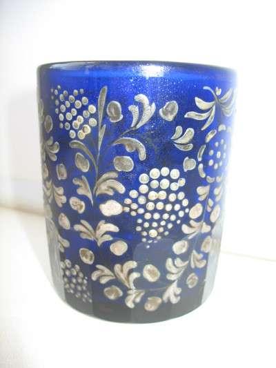 Старинный стакан. Синее стекло. Роспись ручная