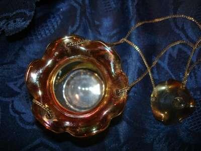старинная лампада,стекло иризацией 20 в.