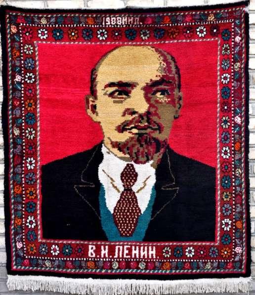 Антикварный ковер ручной работы с изображением Ленина-2