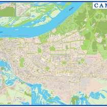 Настенная карта Самары 2,0х1,40 м, в Самаре