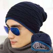 Зимняя мужская модная шапка вязанная (изнутри мех, унисекс), в г.Запорожье