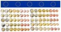 Коллекция монет Евро из 9 стран, 72 монеты UNS, в Санкт-Петербурге
