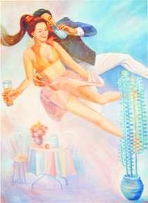 """Продаю живописную картину: """"Ты и я"""" или """"Любовь спасет Мир"""", в г.Алматы"""