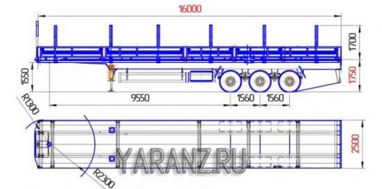 32. Полуприцеп на базе трала 36 тонн, 16 метров со съемными бортами, коники раздвижные до 3 метров