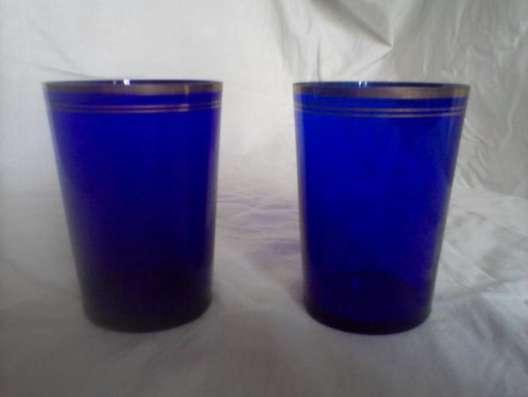 Стаканы тонкого синего стекла старинные