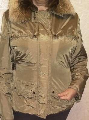 Куртка из плащевки, 46-48 р., песочного цвета, воротник из е