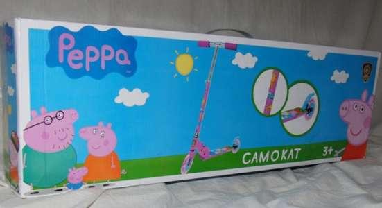 Самокат двухколесный 125 мм, свинка Пеппа, розовый, новый в Москве Фото 1