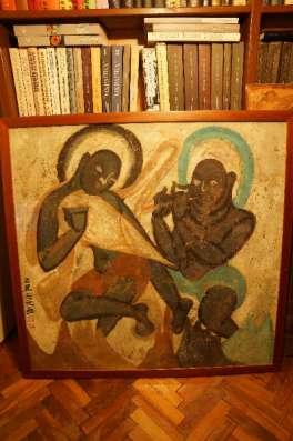 Копия фрески с танцующим Буддой. Тибет.