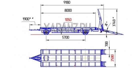 """6. Прицеп тяжеловоз """"1+1"""" 16 тонник 8 метровый в Челябинске Фото 3"""