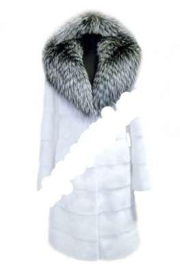 Роскошная шуба из меха белоснежной норки с чернобуркой в Москве Фото 3