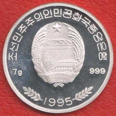 Корея КНДР 100 вон 1995 г. Чемпионат мира футбол серебро в Орле Фото 1