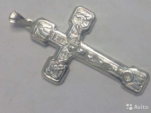 Крест серебряный, мужской, новый