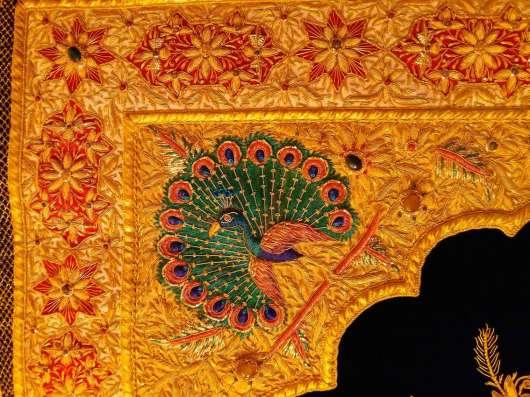Ковёр индийский настенный 190x120 с полудраг камнями в Москве Фото 4
