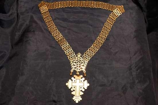 Старинный серебряный старообрядческий наперсный крест. 1893