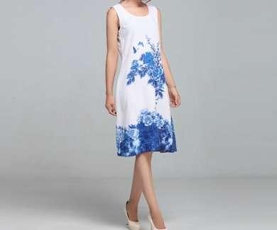 Женское летнее льняное платье