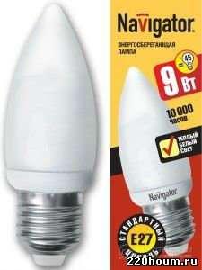 Энергосберегающие лампы Navigator С35 9в